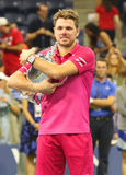Three times Grand Slam champion Stanislas Wawrinka of Switzerland during trophy presentation after his victory at US Open 2016 Royalty Free Stock Image