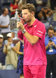 Three times Grand Slam champion Stanislas Wawrinka of Switzerland during trophy presentation after his victory at US Open 2016 Stock Image