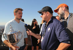 Three times Grand Slam champion Stanislas Wawrinka of Switzerland during TV interview on the Top of the Rock Observation Deck Royalty Free Stock Image