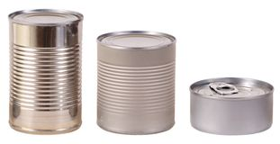 Three tin cans Stock Photo