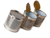 Three tin cans. Stock Photography