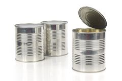 Three tin cans. Isolated on white background Stock Images