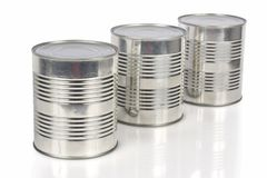 Three tin cans Royalty Free Stock Images