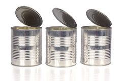 Three tin cans stock photography