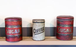 Three tin cans coffee and sugar Royalty Free Stock Images