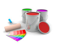 Three Tin of Paint and Swatch. Three tin of paint, roller brush and color swatch on white background Royalty Free Stock Photo