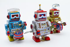 Three Tin Toy Robots Royalty Free Stock Photo