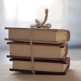Three Tiny Books. Pile of Small Books. Back to School. Squared Stock Photos
