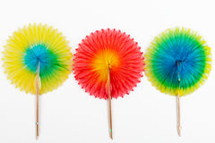 Three tissue paper cocktail fans Stock Image