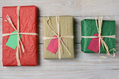 Three Tissue Wrapped Presents Stock Photography