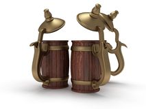 Three toby jugs  on white Stock Image