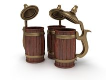 Three toby jugs  on white Royalty Free Stock Photography