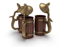 Three toby jugs  on white Stock Photography