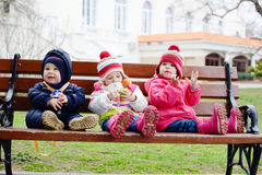 Three toddlers on the bench Royalty Free Stock Images