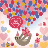 Three-toed sloth on white background. happy birthdaycard. Heart, gift box, balloons, birthday cake, hat. Blue, pink, orange. Vecto Stock Photos