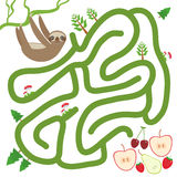 Three-toed slothful on a branch and the apple pear strawberry cherry on white background  labyrinth game for Preschool Children. V Royalty Free Stock Photo