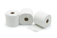 Three toilet rolls. On white background royalty free stock image