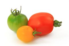 Three tomato varieties Stock Photography