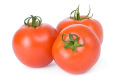 Three tomatoes isolated on a white background Royalty Free Stock Images