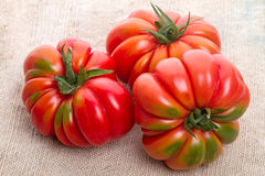 Three tomatoes on sacking Royalty Free Stock Photo