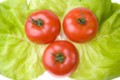 Three tomatoes with salad Royalty Free Stock Images