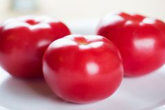 Three tomatoes on a white plate Royalty Free Stock Images