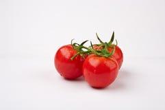 Three tomatos. The close-up of three linked tomatos Stock Photos