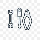 Three Tools vector icon isolated on transparent background, line vector illustration
