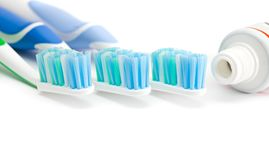 Three toothbrushes. Stock Photos