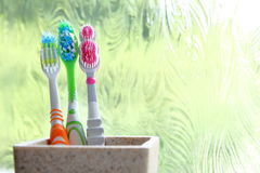 Three toothbrushes in a clay tumbler in the morning light of an obscured window Royalty Free Stock Photo