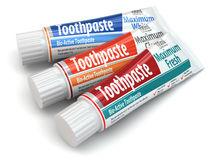 Three toothpaste containers. 3d Stock Photography