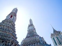 The three tops in Wat Arun. The  pagoda , prang and the Buddha in Wat Arun, Bangkok , Thailand Stock Images