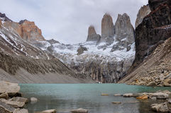 The three Torres in Parque Nacional Torres del Paine, Chile Royalty Free Stock Image