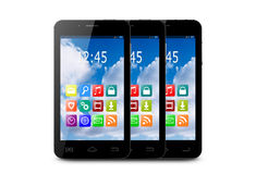 Three touchscreen smartphone with application icons. Three touchscreen smartphones with applications on screens vector illustration