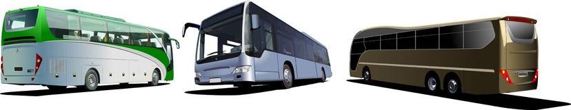 Three Tourist buses. Coach Stock Image