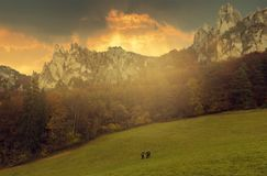 Three tourist on the footpath in Sulov rock, Slovakia royalty free stock images