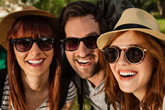 Three Tourists Taking Selfie Royalty Free Stock Image