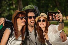 Three Tourists Taking Selfie Royalty Free Stock Photo