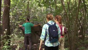 Three tourists in the woods. Tourists pull awning. Three people in the forest. People with backpacks. Dark green forest. A man in a green T-shirt. Two girls with stock video