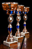 Three tournament prizes on table Royalty Free Stock Photo