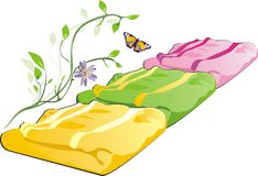 Three towels, sprig and butterfly Stock Image