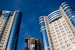 Three tower. Three similar skyscraper. At the rear of the building under construction Royalty Free Stock Image