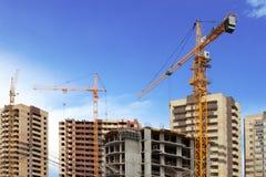 Three tower cranes. Royalty Free Stock Photo