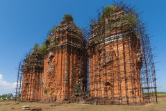 The three towers of Duong Long Cham towers. Royalty Free Stock Images