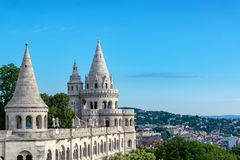 Fishermans Bastion in Budapest. Three towers on Fishermans Bastion in Budapest, Hungary stock photos