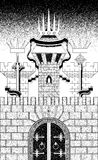 Three towers of fortress wall. The stylized image three towers of fortress wall. Black and white graphics illustration Stock Images