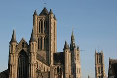 Three Towers In Gent, Belgium Royalty Free Stock Images