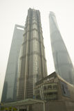 Three towers: Jin Mao, new Shanghai Tower and Shanghai World Financial Center at Lujiazu Stock Photo