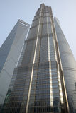 Three towers: Jin Mao, new Shanghai Tower and Shanghai World Financial Center at Lujiazu Stock Photography