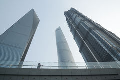 Three towers: Jin Mao, new Shanghai Tower and Shanghai World Financial Center at Lujiazu Stock Image